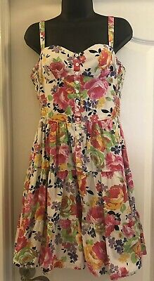 RARE Vintage Betsey Johnson Size 12 Floral White Rockabilly Flare Pin Up Dress