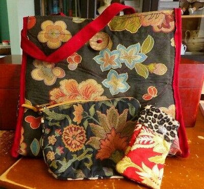 Attenti Knitting Project Bag with Matching Accessories Bag and Eyeglass Case