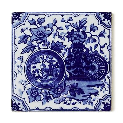 Antique Tile Minton Hollins Aesthetic Chinoiserie Japonesque Delft Blue White