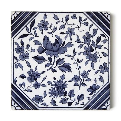 Antique Tile Victorian Aesthetic Japonesque Floral International Tile Delft Blue