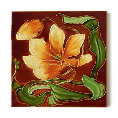 Antique Tile Art Nouveau Floral Flower Embossed Majolica Brown Yellow Green