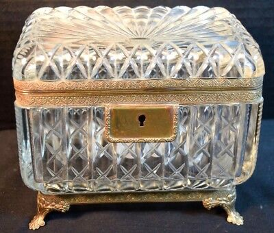 French Cut Crystal Bronze Mounted Footed Glass Box