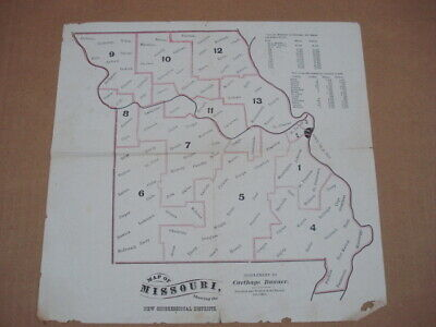 1876 Mo. Map Of Congressional Districts W/Hayes VS Tilden Presidential Results