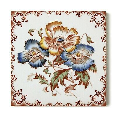 Lovely Aesthetic Victorian Antique Tile Floral Flower Hand Painted Alfred Meakin