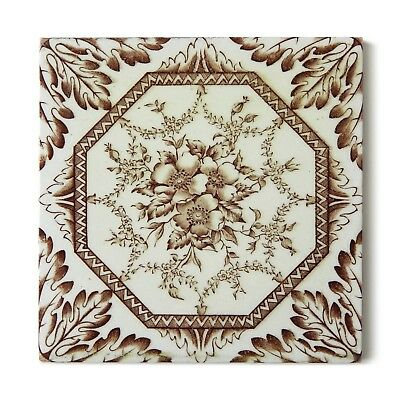 Antique Tile Victorian Aesthetic Rococo Floral Pansies Oak Leaves Brown White
