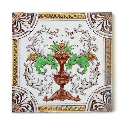 Antique Tile Victorian Aesthetic Rococo Edwardian Floral Delicate Hand Tinted