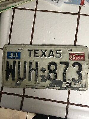 Barn Texas License Plate WUH 873 White Black Sep 1980 Tag Craft Man Cave Rusty**