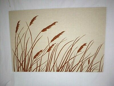 Vtg 70s Marushka Textile Art Screen Print Stretched Fabric Wall Art Wheat 36x24