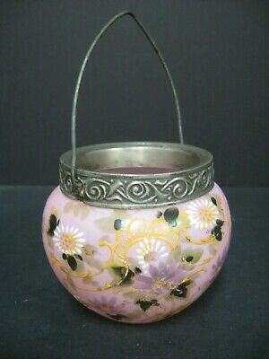 Antique Victorian Pink glass basket w/ handle Hand-painted Victorian basket