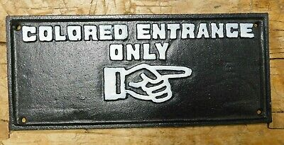 Cast Iron COLORED ENTRANCE ONLY Sign Black AMERICANA Finger Pointer PLAQUE