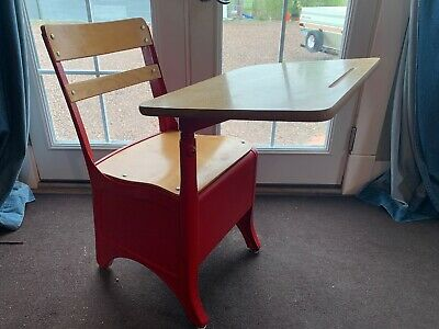 Vintage Student wooden chair attached desk combo storage bin school Bright Red