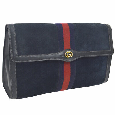 b3503549784d26 Auth GUCCI PARFUMS Shelly Line Clutch Bag Navy Suede Leather Vintage K08393