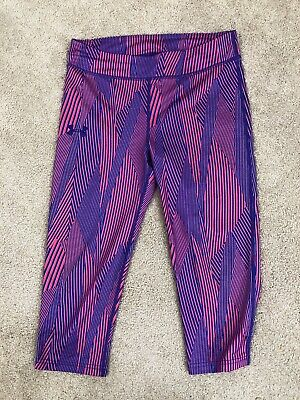 Girls Youth Large YL Under Armour Heat Gear Compression Crop Leggings Purple