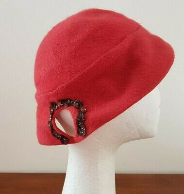 Vintage 60s LA FAMILIARE Made in Italy Light RED Felted Fur Pig Tail Dress HAT