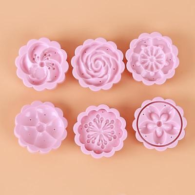 6 Stamps Round Hand Pressing Moon Cake Mold Pastry DIY Baking Mold Set W