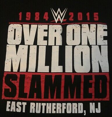 WWF/WWE Over One Million Slammed East Rutherford NJ Shirt L Meadowlands Arena