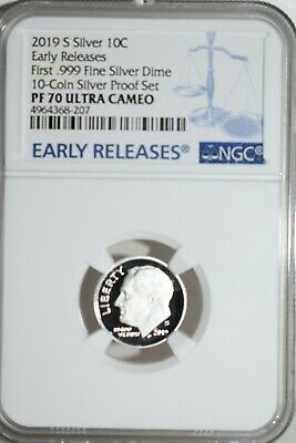 2019 S Proof Roosevelt Dime First .999 Fine Silver NGC PF-70 Early Releases