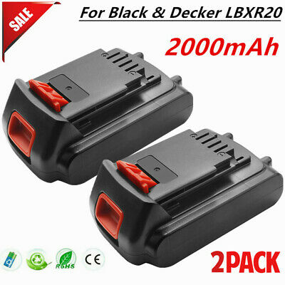 2× For Black & Decker LBXR20 20V 2.0Ah Li-Ion Battery Max LBXR20-OPE LBX20 TP