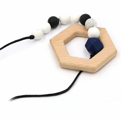 E Type Baby Teething Necklace Food Grade Silicone Bead Long Chain Baby Teether K