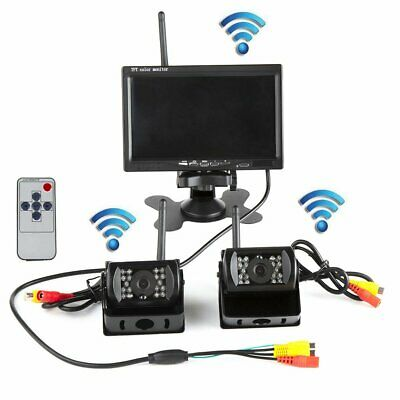 "Wireless 7"" LCD Monitor W/2 x Rear View Reversing Camera Kits For Car Bus Trucks"