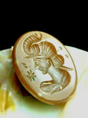 Ancient Agate Superb Inatglio Diademed King wearing elephant head-dress Stamp