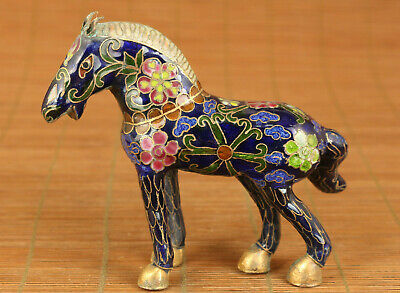 Asian old cloisonne hand painting horse statue table home decoration noble gift