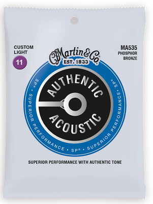 Martin MA535 Authentic Acoustic Custom Light Phosphor BronzeGuitar Strings 11-52