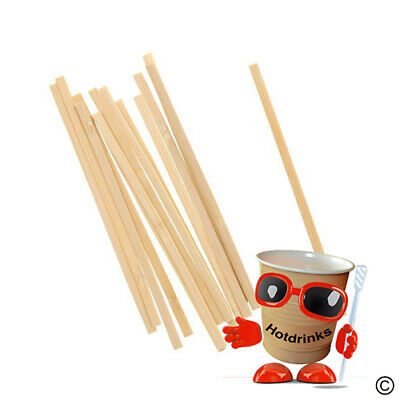"Wooden Stirrers, Sticks, Spoons for Stirring - 140mm/5.5"" Long [Bag of 1,000]"
