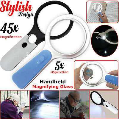 Handheld 45X 5X Magnifier Magnifying Glass Reading Jewelry Loupe With LED Light