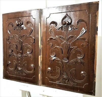 Pair gothic scroll leaves panel Antique french carved wood architectural salvage