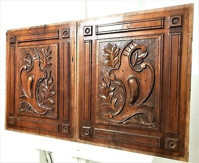 Victory coat of arms panel Antique french hand carved wood architectural salvage