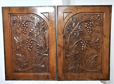 Pair Farmhouse country grapes panel Antique french walnut architectural salvage