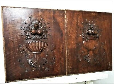 Farmhouse bowl fruit panel Antique french hand carved wood architectural salvage
