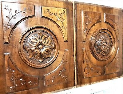 Pair gothic rosette panel Antique french wooden carving architectural salvage