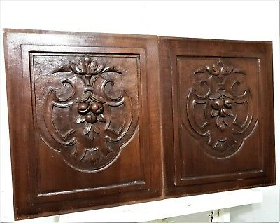Pair Medaillon cartouche panel Antique french carved wood architectural salvage