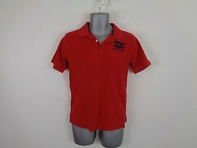 Boys Teen Tommy Hilfiger Polo Shirt Red Button Up Short Sleeve 16-18 Yrs L