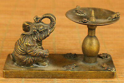 Chinese old bronze hand carving Elephant candle stick oil lamp statue noble gift