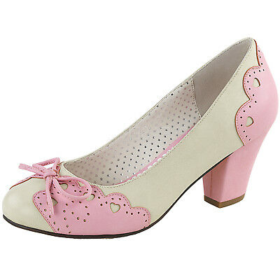 0c324d491e3a7 PIN UP COUTURE WIGGLE-17 Cuben Heel Pump Cutout Heart Bow Scalloped Pink  Cream