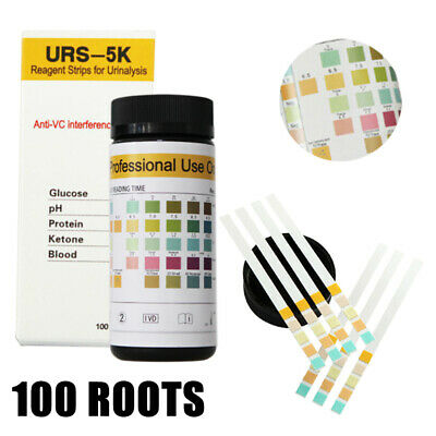 100pcs/Bottle Urine Test Strips For Ketone Glucose PH Protein Blood Reagent