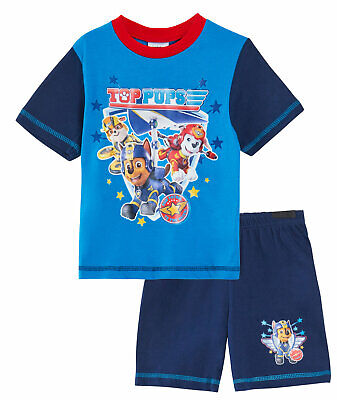 Paw Patrol Pyjamas Boys Top Super Pups Pjs Shortie Character T Shirt + Shorts