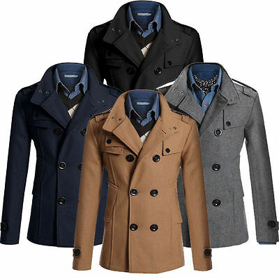 Mens Double Breasted Wool Trench Coat Jacket Overcoat Winter Warm Peacoat Parkas