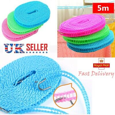 5M Washing Clothesline Outdoor Travel Camping Clothes Line Rope Non-slip UK HOT