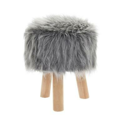 Round Furry Grey Stool Fluffy Bedroom Vanity Lounge Foot Rest Home Furniture