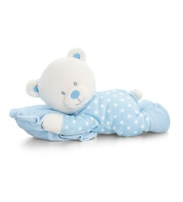 Blue Spotty Teddy Bear with Pillow - New Baby Boy Christening Baby Shower Gift