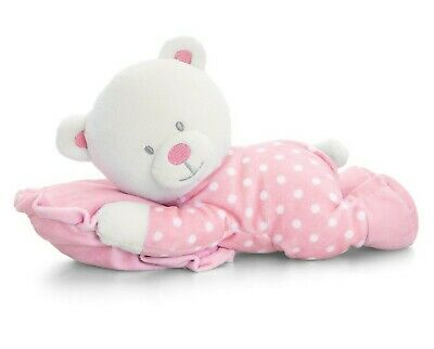 Pink Spotty Teddy Bear with Pillow - New Baby Girl Christening Baby Shower Gift