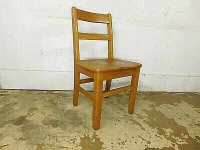 "1950s Vintage School House Childs OAK 16"" Seat Tall Side Chair- GOOD"