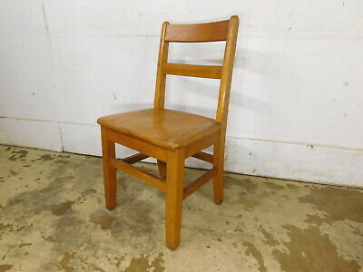 "1950s Vintage School House Childs OAK 16"" Seat Tall Side Small Chair- GOOD"