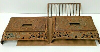 2 Old Cast Iron Auer Slanted Register Covers Wall / Floor w/ 1 Grate & 2 Doors