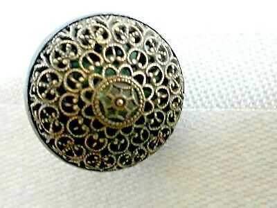 Rare Antique Filigree Pinchbeck and Japanned Button c18thc, 22mm.