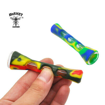 HORNET Silicone & Glass Dugout One Hitter Pocket Horn Shaped Pipe